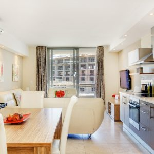 Canal Quays 403 - Living area and Kitchen