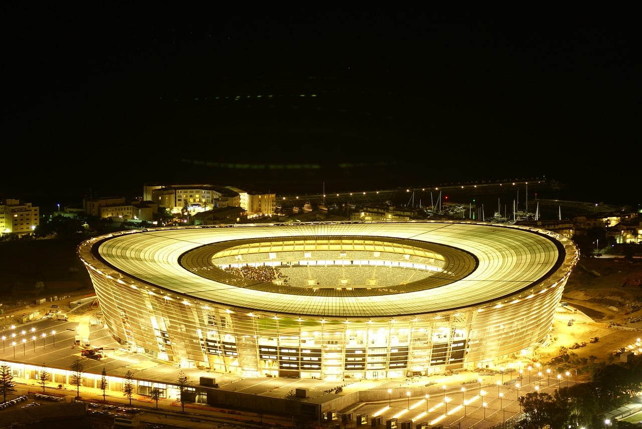 Cape Town Stadium at night
