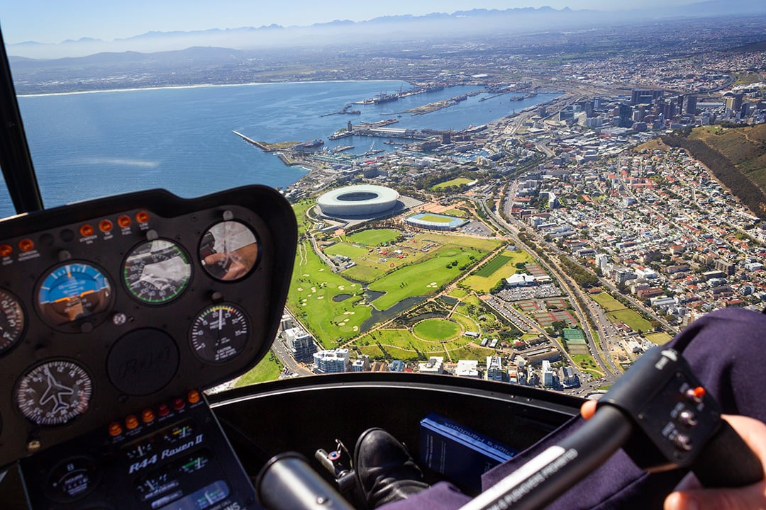 A helicopter flight is a luxury experience in Cape Town