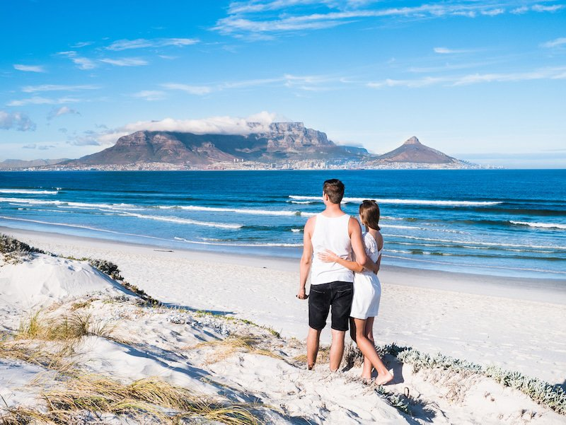 Romantic couple on the beach in Cape Town
