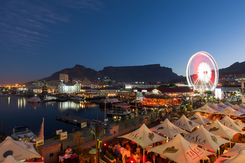 The V&A Waterfront and Cape Wheel at dusk