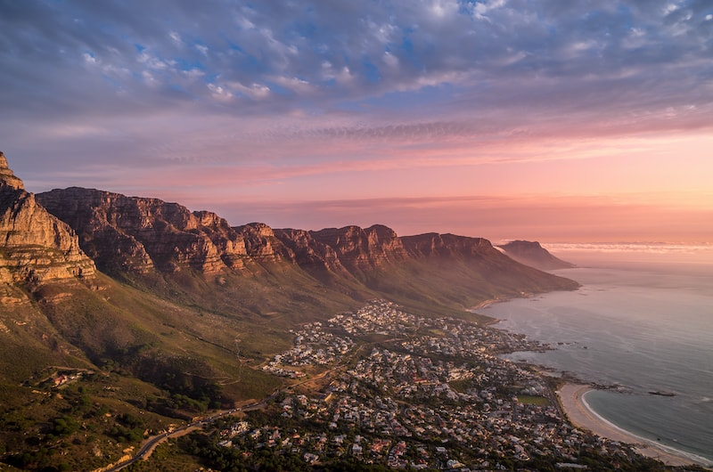 View of Camps Bay during sunset in winter