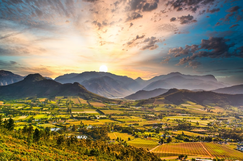 Sunrise in the Franschhoek Valley during autumn